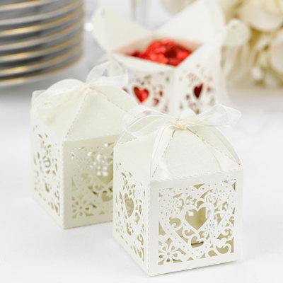 Mariage - Ivory Decorative Wedding Favor Boxes (Pkg of 25) - New
