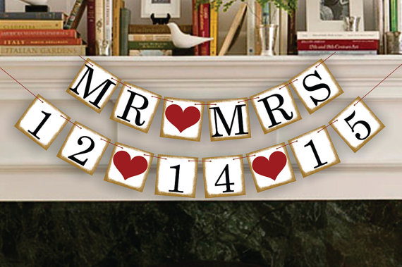 Свадьба - Wedding Banner Save The Date Banner Wedding Date Banners- Wedding Sign- Mr Mrs Banners Photo Prop Signs - Date Garland Decoration - New