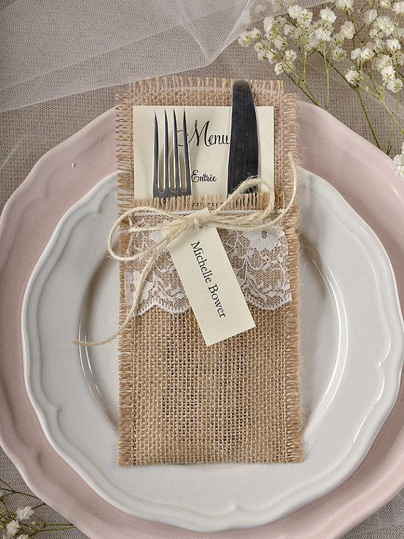 Mariage - Burlap Silverware Holders(10), Rustic Place Cards, RusticSilverware Holders, Wedding  Rustic Menu, Wedding Table Set, Rustic escort card - New