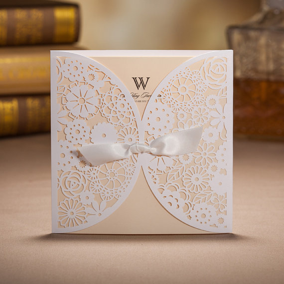 Wedding - 50 Rustic Laser Cut Wedding Invitation Cards With Envelopes and Seals -- Ship Worldwide 3-5 Days - New