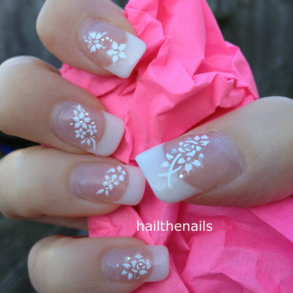 Hochzeit - White Nail Art Stickers Nail Decals Wraps Sparkly Flower Butterfly Crystal YD084 - New