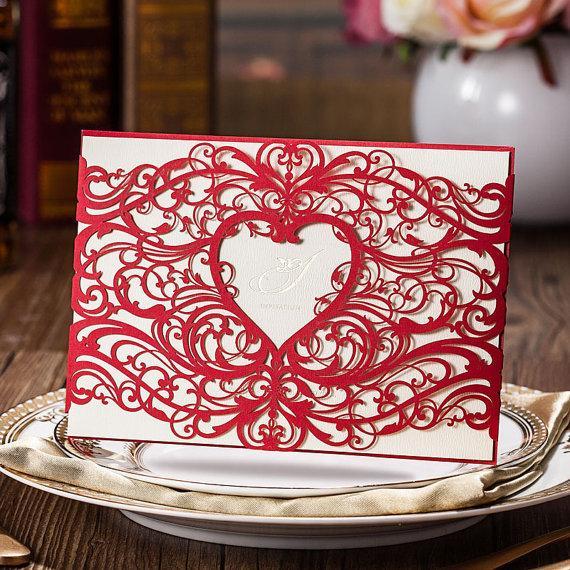 Wedding - 50 cartes d'Invitation de mariage dentelle rouge, Invitation d'annonce de mariage, nuptiale de douche Invitation - navire dans le monde 3-5 jours - lot de 50 - New