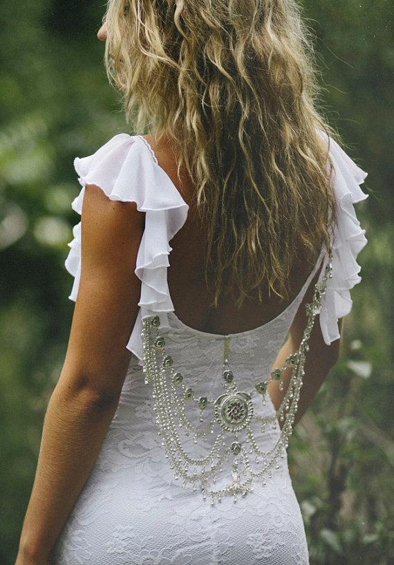 Mariage - Striking low back lace wedding dress with frilly sleeves and fitted lace body perfect for a beach wedding - New