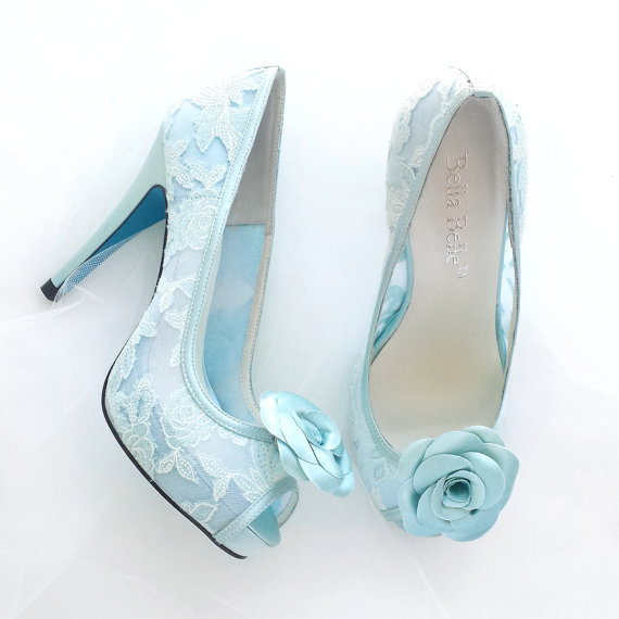 Wedding - Something Blue Wedding Shoes Mint Floral Lace Peep Toe Bridal Pumps with Handmade Rosette Shoe Clips - New
