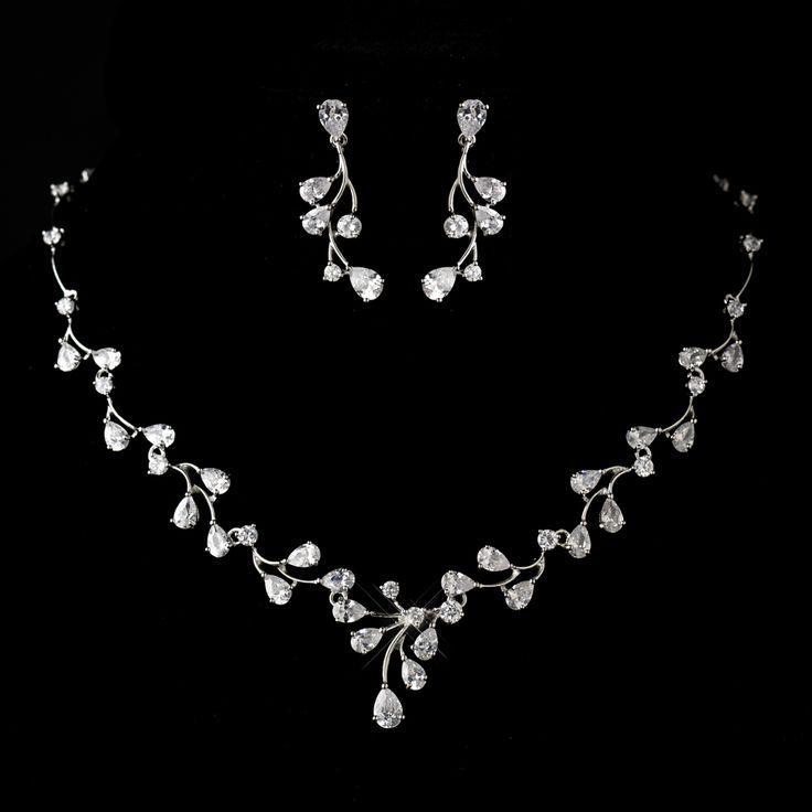 Wedding - Rhodium Plated CZ Wedding Jewelry Set