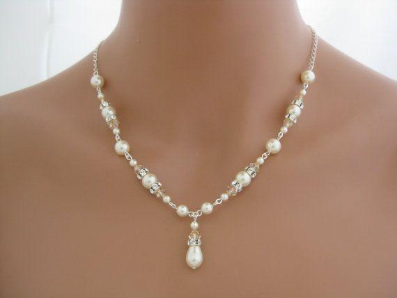 Свадьба - Ivory Pearl Necklace Wedding Jewelry Bridesmaid Necklace Pearl Jewelry Ivory