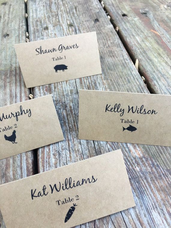 Personalized meal choice place cards escort cards place for Personalized wedding place cards