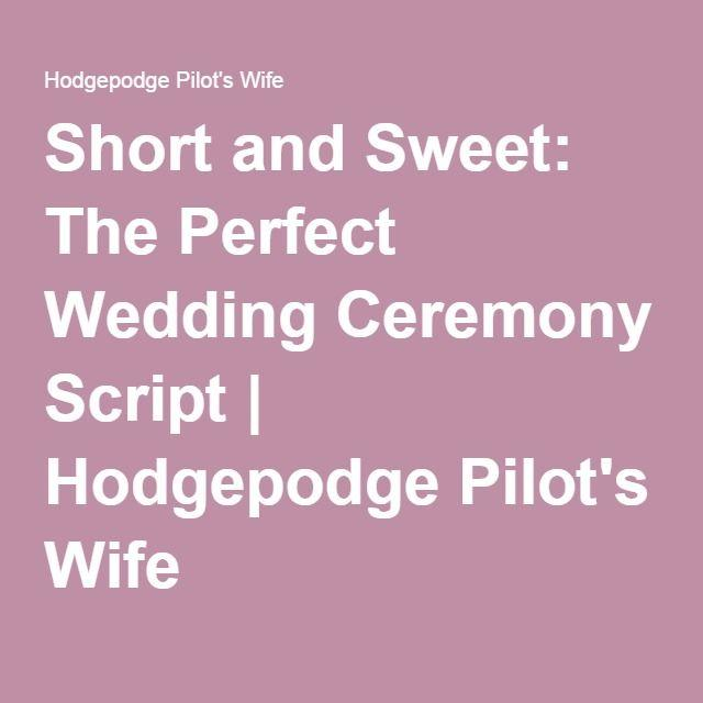 Hochzeit - Short And Sweet: The Perfect Wedding Ceremony Script