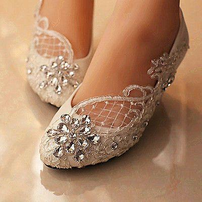 زفاف - Lace White Ivory Crystal Wedding Shoes Bridal Flats Low High Heel Pump Size 5-12