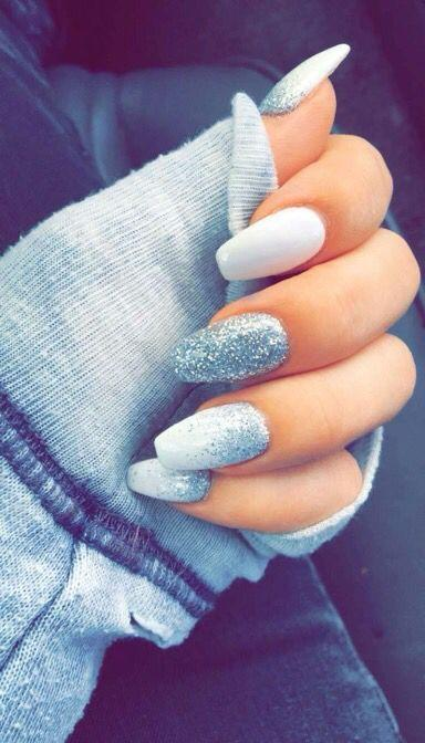 Nail - White And Silver Coffin Nails #2537762 - Weddbook