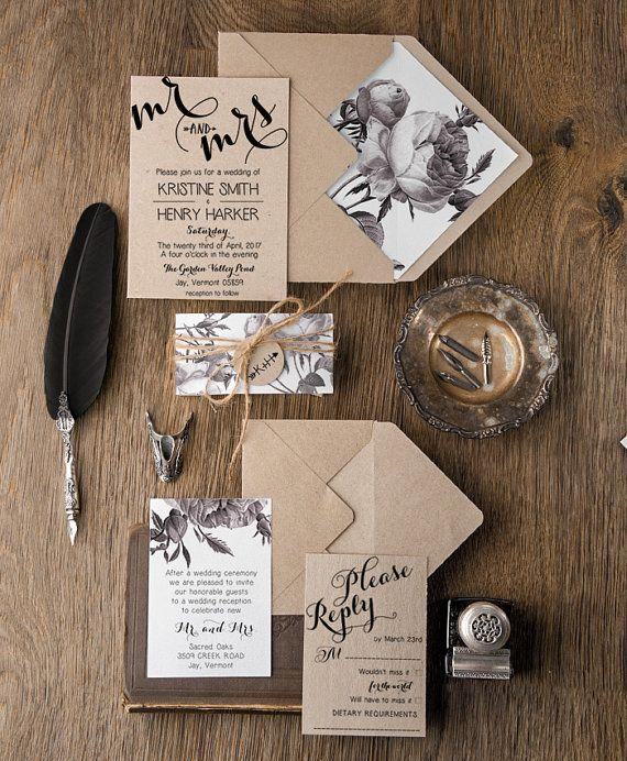 Wedding - Botanical Wedding Invitations (20), Rustic Vintage Rose Invites, Boho Floral Wedding Invitations, Wedding Invitation Suite, Painterly Invite