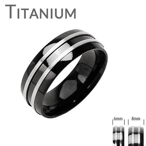 Свадьба - Zenith - Double Silver Stripe Black and Titanium Comfort Fit Wedding Band
