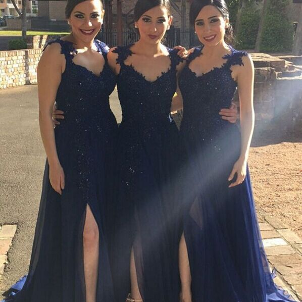 Navy Blue Lace Appliques Side Slit Chiffon A Line Bridesmaid Dresses 2619788 Weddbook,How To Dye A Wedding Dress Purple