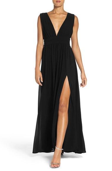 e6e6ae5f8aa0 Bridesmaid - Lulus Plunging V-Neck Chiffon Gown #2622074 - Weddbook