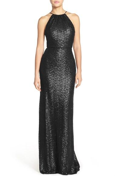 Mariage - Amsale 'Chandler' Sequin Tulle Halter Style Gown