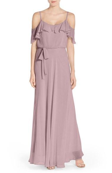 Wedding - nouvelle AMSALE Cold Shoulder A-Line Chiffon Gown