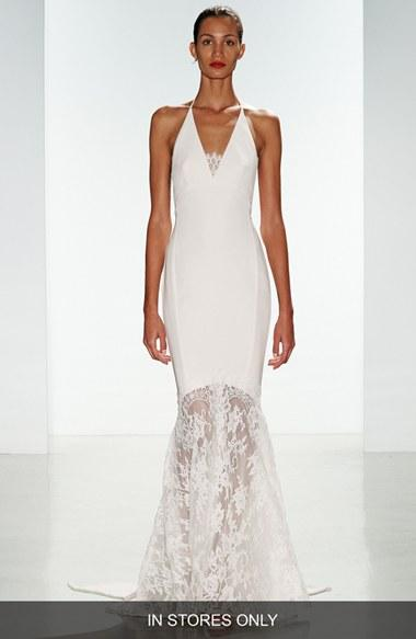 Wedding - nouvelle AMSALE 'Bree' Lace & Crepe Halter Gown (In Stores Only)