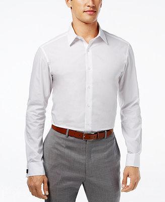 Hochzeit - Alfani Alfani Fitted Solid Performance French Cuff Shirt
