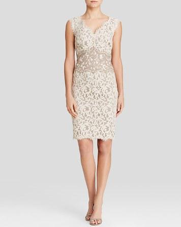 زفاف - Tadashi Shoji Dress - Sleeveless V-Neck Color Block Lace