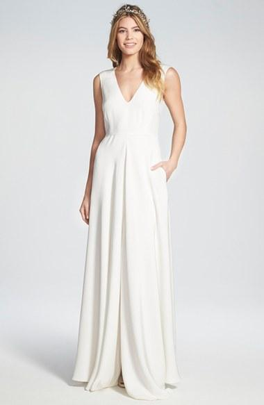 Düğün - Houghton 'Grady' Sleeveless Silk V-Neck Gown