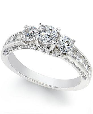 زفاف - Macy's Diamond 3-Stone Ring (2 c.t. t.w.) in 14k White Gold