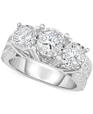 زفاف - TruMiracle TruMiracle® Diamond Three-Stone Engagement Ring (3 ct. t.w.) in 14k White Gold