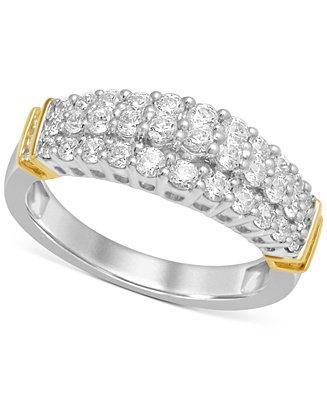 Свадьба - Macy's Diamond Three-Row Band (1 ct. t.w.) in 14k White and Yellow Gold