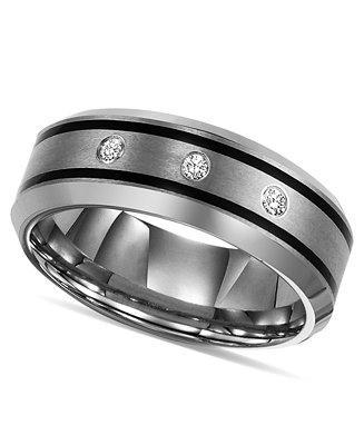 Свадьба - Triton Triton Tungsten Ring, Diamond Wedding Band (1/10 ct. t.w.)