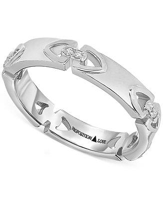 Wedding - Proposition Love Proposition Love Diamond Triangle Motif Women's Wedding Band in 14k White Gold (1/10 ct. t.w.)
