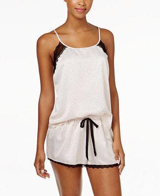 Mariage - Linea Donatella Linea Donatella Lace-Trimmed Satin Cami and Shorts Pajama Set