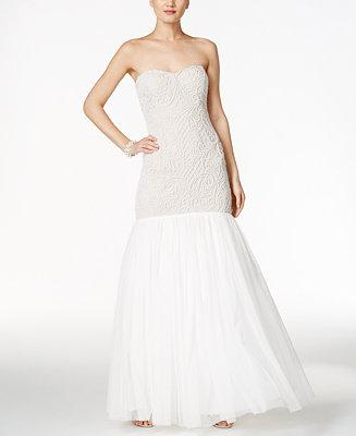 Wedding - Adrianna Papell Adrianna Papell Beaded Strapless Mermaid Gown