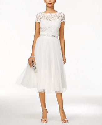 Hochzeit - Adrianna Papell Adrianna Papell 2-Pc. Lace Tulle A-Line Dress