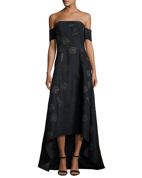 Wedding - Off-the-Shoulder Embroidered High-Low Gown, Lapis