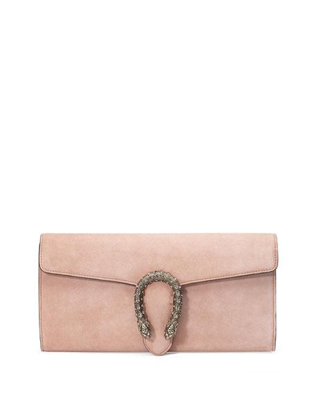 Wedding - Dionysus Suede Clutch Bag, Crystal Pink