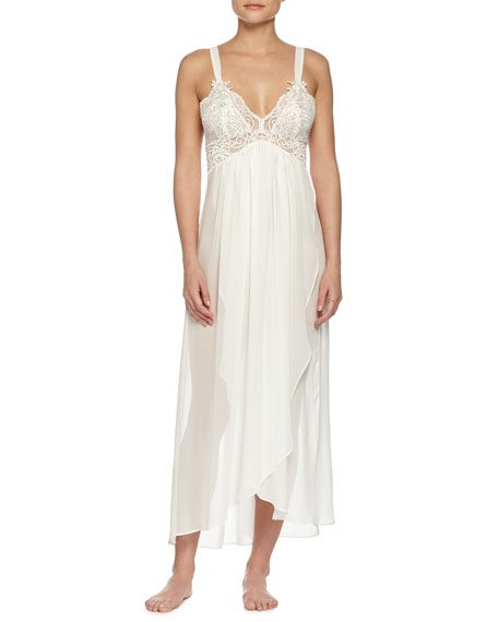Wedding - Embroidered-Lace Long Chiffon Gown, Ivory