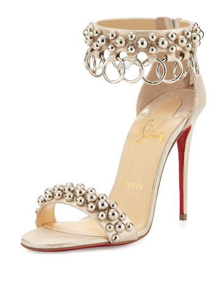 Wedding - Gypsandal Ring-Trim 100mm Red Sole Sandal, Latte