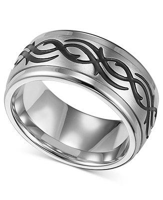 Mariage - Triton Men's Stainless Steel Ring, Black Design Wedding Band