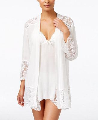 Mariage - Linea Donatella Linea Donatella Flower Child Sheer Lace-Trim Kimono Robe