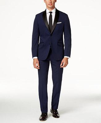 Düğün - Perry Ellis Perry Ellis Portfolio Solid Navy Slim-Fit Tuxedo