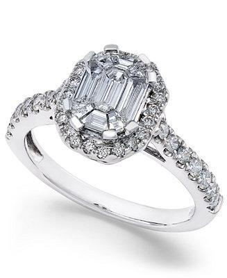 Свадьба - Macy's Diamond Emerald-Cut Bridal Ring with Halo (1 ct. t.w.) in 14k White Gold