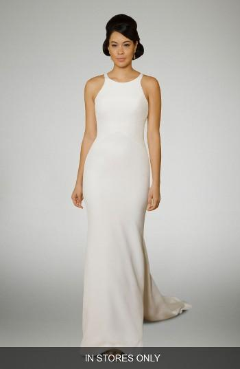 Свадьба - Matthew Christopher Halter Crepe Gown with Train (In Stores Only)