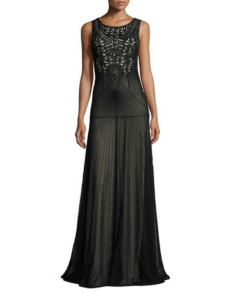 Mariage - Sleeveless Beaded Tulle Gown, Black