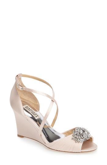 Hochzeit - Badgley Mischka Tacey Embellished Strappy Wedge Sandal (Women)