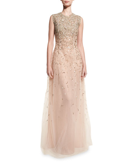 Mariage - Embellished Sleeveless A-Line Gown, Gold