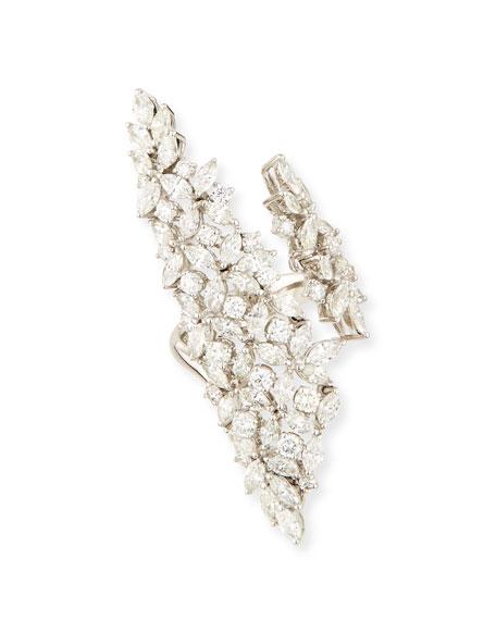 Wedding - 18K White Gold Marquis & Round Diamond Wrap Ring, Size 7