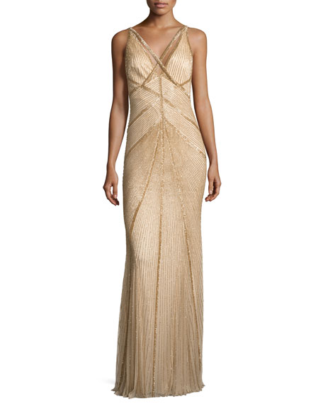 Свадьба - Sleeveless Beaded V-Neck Gown, Gold