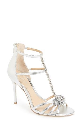 Hochzeit - Badgley Mischka Hazel Embellished T-Strap Sandal