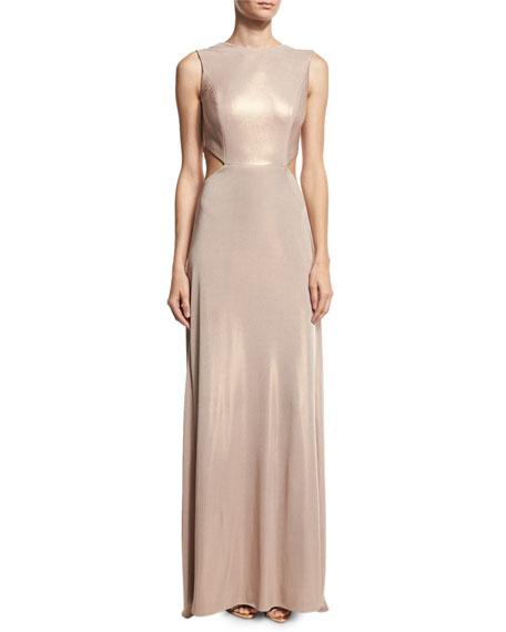 Hochzeit - Sleeveless Twist-Back Metallic Jersey Column Gown, Primrose