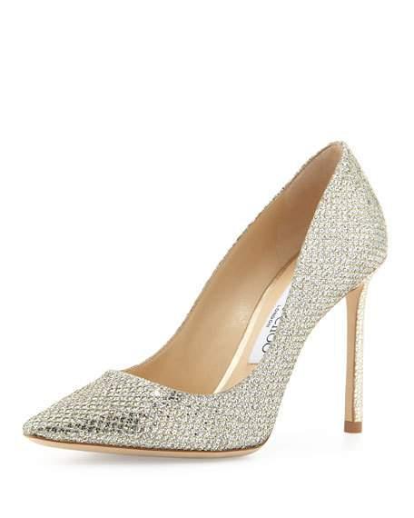 Hochzeit - Romy Glitter Pointed-Toe 100mm Pump, Champagne