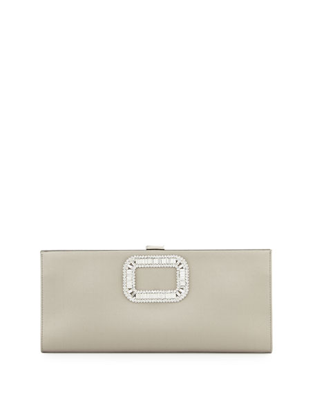 Mariage - Pilgrim Strass-Buckle Satin Clutch Bag, Pearl